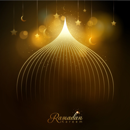 Ramadan Kareem glow mosque dome and star and islamic crescent