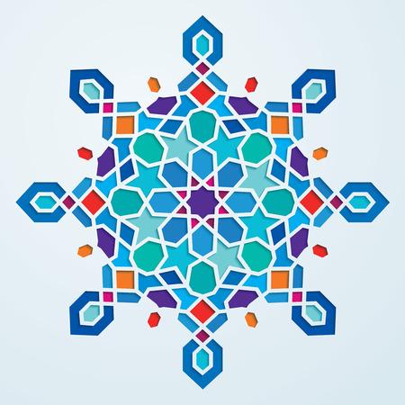 다채로운 아랍어 기하학적 인 패턴 원형 화려한