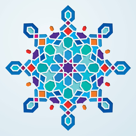 Colorful arabic geometric pattern round ornate
