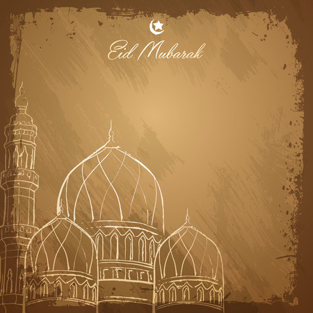 community event: Eid Mubarak islamic greeting background outline mosque sketch