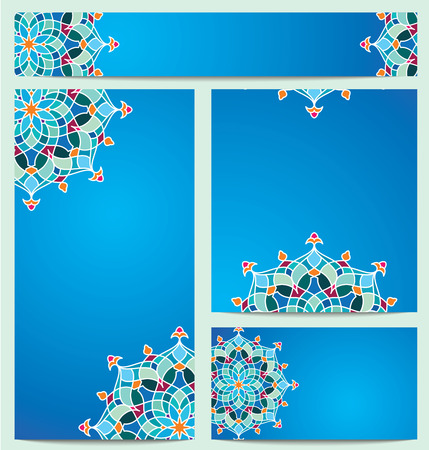 circle pattern: Beautiful vector colorful circle arabic pattern ornament for greeting business card - banner template