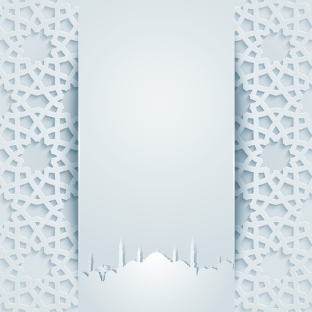 Geometric ornament arabic pattern with mosque silhouette for greeting islamic celebration eid and ramadan Vectores