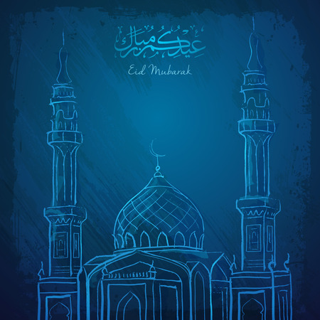 Eid Mubarak islamic greeting background outline mosque sketch