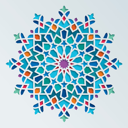 islamic pattern: Beautiful colorful arabic geometric ornament round pattern