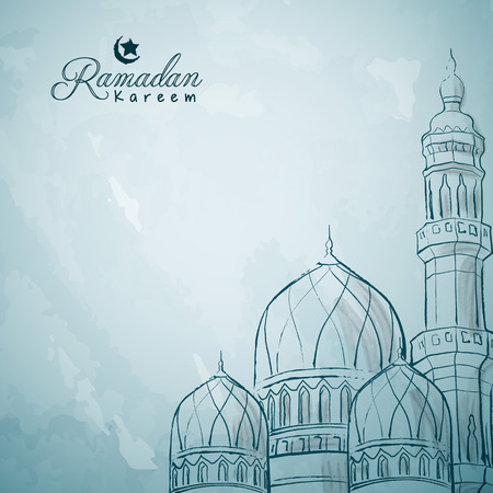 Mosque ink sketch islamic greeting background Ramadan Kareem