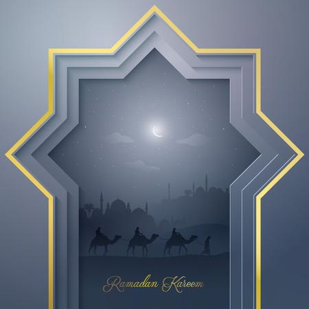 이슬람 배경 라마단 카림에 대한 모스크와 낙타 아라비아 여행 일러스트