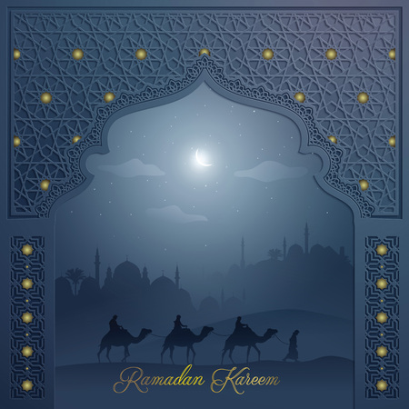 Islamic background for greeting mosque door with arabic pattern and arabian landscape Ramadan Kareem