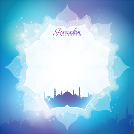 Vector illustration Ramadan Kareem greeting background with mosque silhouette Çizim