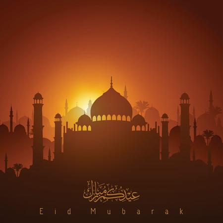 모스크 실루엣 및 아랍어 달 필 Eid 무바라크에 일몰