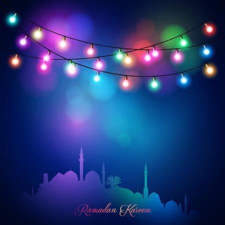 다채로운 불빛과 사원 이슬람 축 하 인사말 배경 라마단 카림