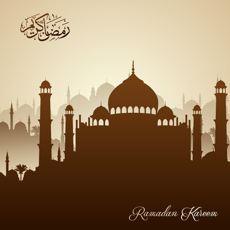 arabic background: Beautiful islamic greeting background with mosque silhouette and arabic calligraphy Ramadan Kareem