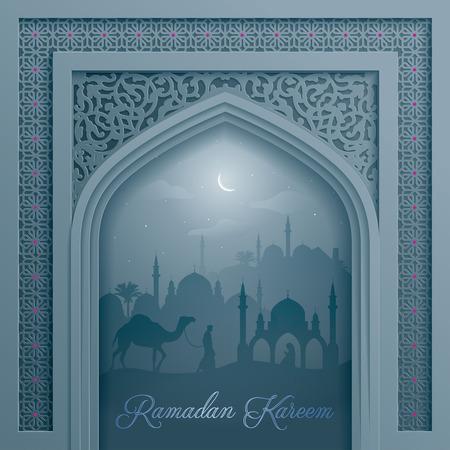 Moschea porta con modello arabo per la priorità islamica Ramadan Kareem