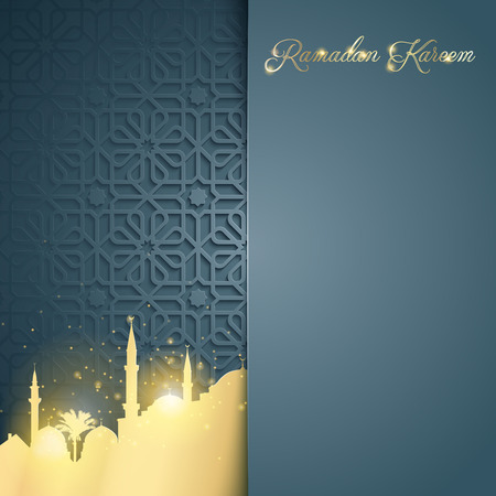Islamic glow mosque on arabic pattern background for greeting of Ramadan Kareem