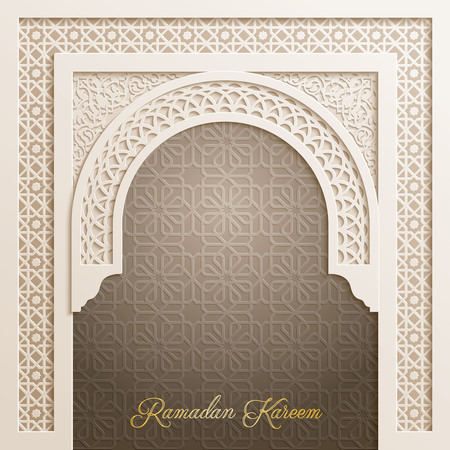 Door mosque with arabic pattern for Ramadan Kareem greeting background