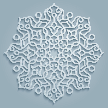 Modello rotondo decorativo mandala - simboli e elementi di design persiano, arabo, islamico, floreale turco