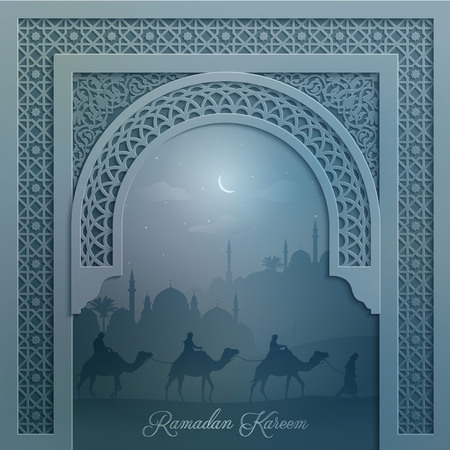 Mosque silhouette and arabian camel travel with arabic pattern for islamic greeting background Ramadan Kareem