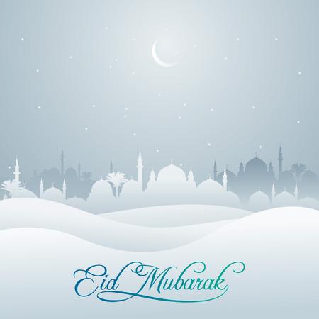 인사말 배너 Eid 무바라크 모스크와 사막 실루엣 일러스트
