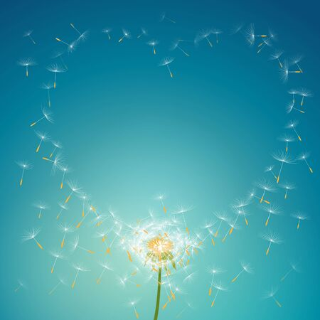 Flying parachutes from dandelion forming love floral frame background