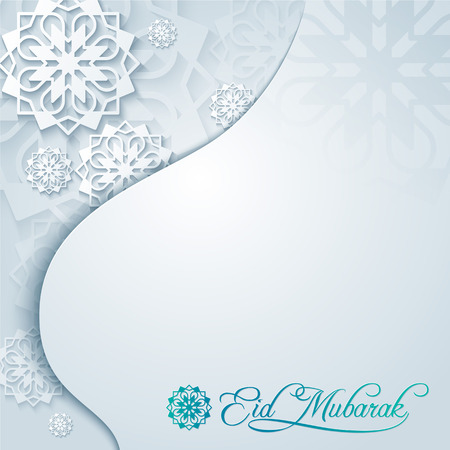 Eid Mubarak background greeting card with arabic pattern and mosque dome silhouette