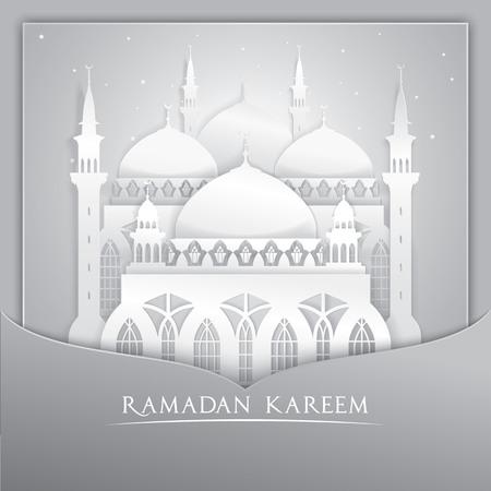 Carte de voeux papier graphique vectorielle 3D mosquée musulmane. Traduction Ramadan Kareem