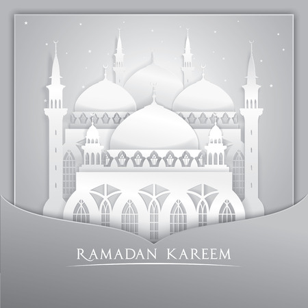 greeting card: Vector 3D mosque muslim Paper Graphic Greeting Card. Translation Ramadan Kareem