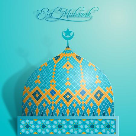 라마단 카림 이슬람 돔 모스크 화려한 아랍어 패턴 모자이크 디자인