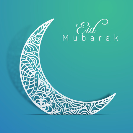 Eid Mubarak with Floral Pattern on Crescent