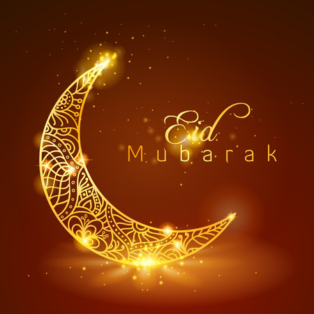 Eid Mubarak with Glow Gold Floral Pattern on Crescent