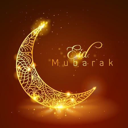 Eid穆巴拉克与焕发金花卉图案在新月上