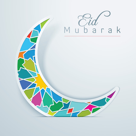 Eid Mubarak Colorful Crescent Arabic Pattern Illustration