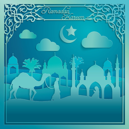 muslim prayer: Ramadan Kareen silhouette camel mosque muslim prayer on desert