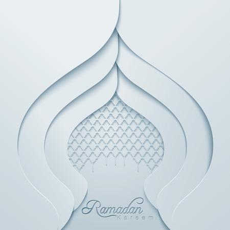 islamic calligraphy: Ramadan Kareem Dome Mosque geomtric pattern