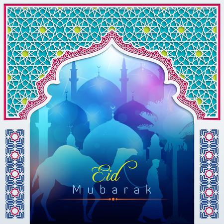 mosque: Eid Mubarak night glow Door Mosque