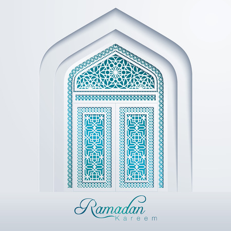 Ramadan Kareem White Mosque Door Geometric Pattern Vettoriali