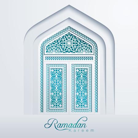 Ramadan Kareem White Mosque Door Geometric Pattern Illustration