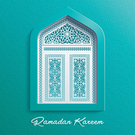 greeting card: Ramadan Kareem Mosque Window Geometric Pattern
