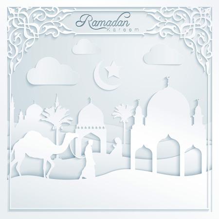 prayer: Ramadan kareem silhouette camel mosque prayer