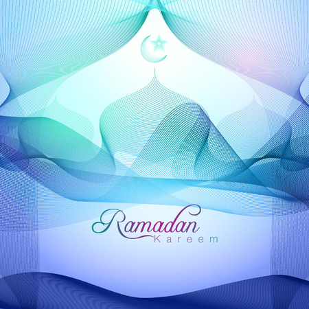 Ramadan Kareem lijn moskee kleurrijke Stock Illustratie
