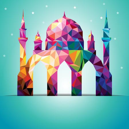 Eid 무바라크 다채로운 삼각형 모스크