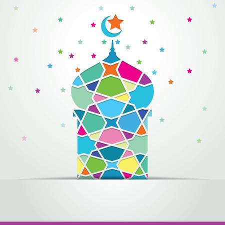 night art: ramadan kareem mosque covered with arabic geometric ornament colorful - eid mubarak Illustration