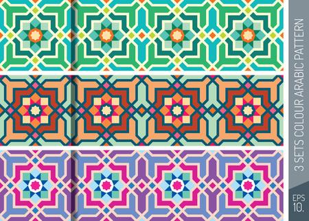 arabesque pattern: Three Sets Geometric Arabic Pattern Ornament_2