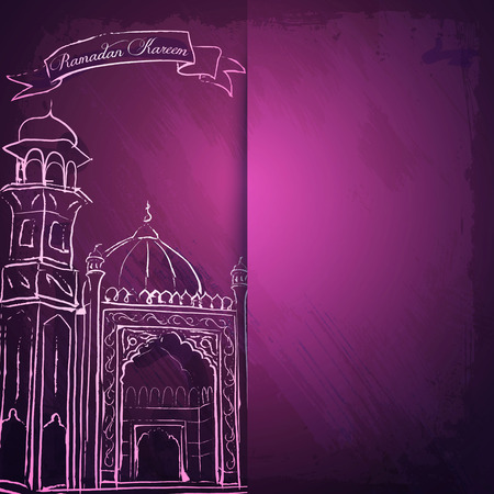 community event: Ramadan Kareem greeting card and islamic banner background mosque ink sketch