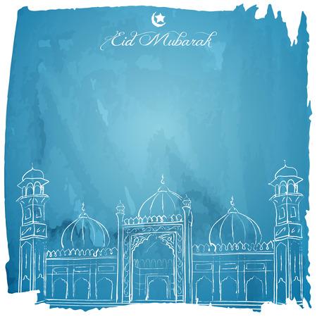 religious celebration: Eid Mubarak islamic greeting background Illustration