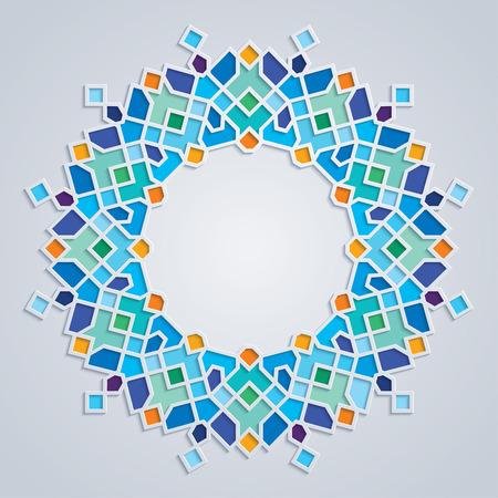 라운드 패턴 다채로운 모자이크 이슬람 기하학적 장식