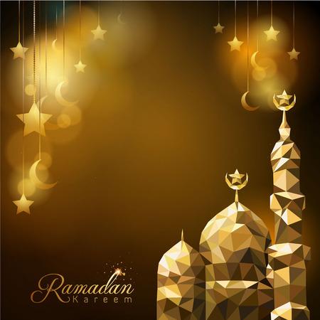 Ramadan Kareem achtergrond gloed moskee koepel en ster en islamitische halve maan Stock Illustratie