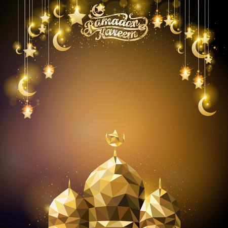 斋月kareem焕发金黄新月形和星伊斯兰教问候背景