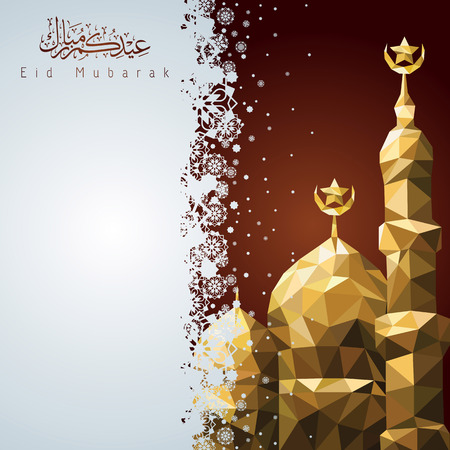 Eid Mubarak Vector greeting card background with mosque mosaic and arabic calligraphy
