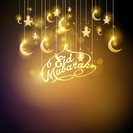 Eid Mubarak gloed gouden halve maan en ster islamitische groet banner achtergrond
