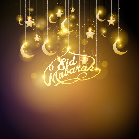 Eid Mubarak glow gold crescent and star islamic greeting banner background