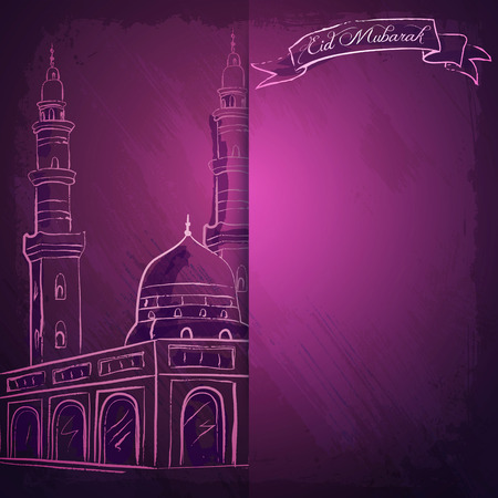 hajj: Vector mosque ink sketch for Eid Mubarak greeting background